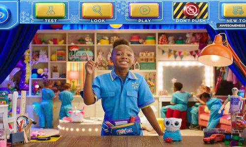 A child actor pictured as a Walmart salesperson.